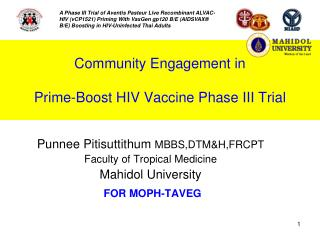Community Engagement in  Prime-Boost HIV Vaccine Phase III Trial