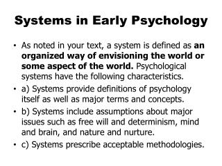 Systems in Early Psychology