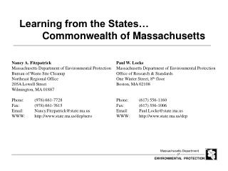 Learning from the States� 	Commonwealth of Massachusetts