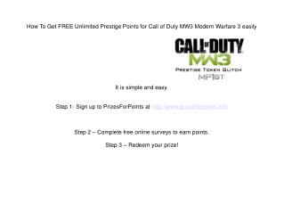 How To Get FREE Unlimited Prestige Points for Call of Duty MW3 Modern Warfare 3 easily
