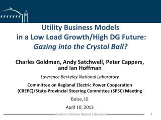 Utility Business Models  in a Low Load Growth/High DG Future: Gazing into the Crystal Ball?