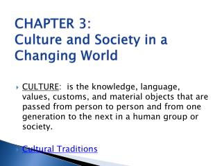 CHAPTER  3: Culture and Society in a Changing World