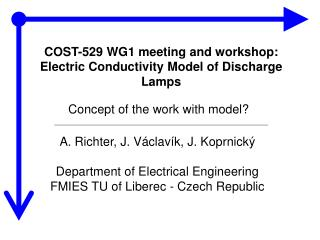 COST-529 WG1 meeting and workshop: Electric  C onductivity  M odel of  D ischarge  L amps