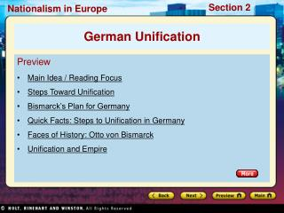 Preview Main Idea / Reading Focus Steps Toward Unification Bismarck�s Plan for Germany