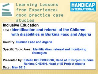 Learning Lessons from Experience: good practice case studies