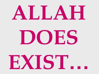 ALLAH DOES EXIST …