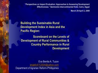 Building the Sustainable Rural Development Index in Asia and the Pacific Region:
