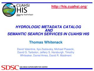 HYDROLOGIC  METADATA  CATALOG AND  SEMANTIC  SEARCH SERVICES IN CUAHSI  HIS