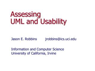 Assessing  UML and Usability