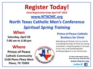 Register Today! Early Registration Ends April 16 th  2012 NTXCMC