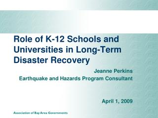 Role of K-12 Schools and Universities in Long-Term Disaster Recovery
