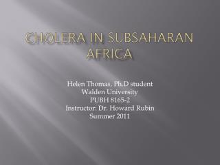 Cholera in  subsaharan africa