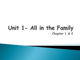 Unit 1- All in the Family