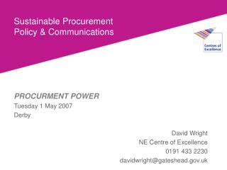 Sustainable Procurement Policy  Communications
