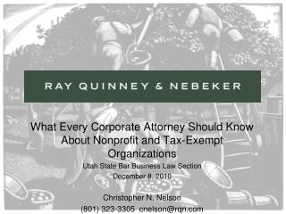 What Every Corporate Attorney Should Know About Nonprofit and Tax-Exempt Organizations