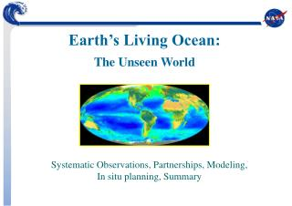 Systematic Observations, Partnerships, Modeling, In situ planning, Summary