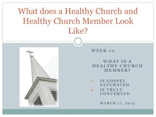 What does a Healthy Church and Healthy Church Member Look Like?
