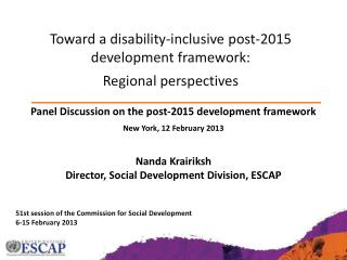 51st session of the Commission for Social Development 6-15 February 2013