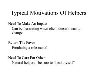 Typical Motivations Of Helpers