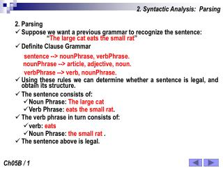 2. Syntactic Analysis:  Parsing