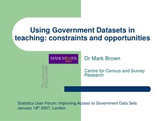 Using Government Datasets in teaching: constraints and opportunities