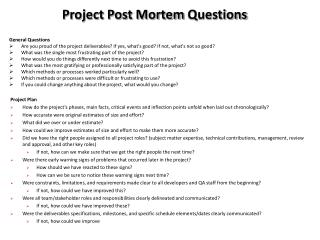 Project Post Mortem  Questions