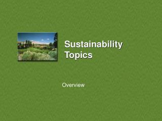 Sustainability Topics