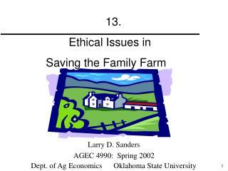 Larry D. Sanders AGEC 4990:  Spring 2002