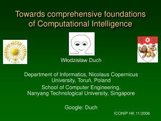 Towards comprehensive foundations of Computational Intelligence