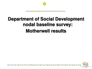 Department of Social Development nodal baseline survey: Motherwell results
