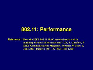 802.11: Performance