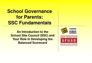 School Governance  for Parents:   SSC Fundamentals