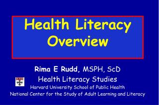 Health Literacy Overview