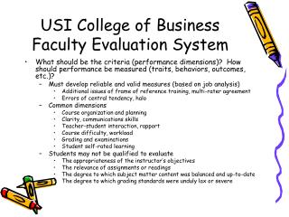 USI College of Business Faculty Evaluation System