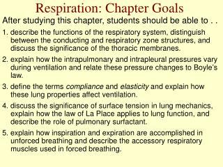 Respiration: Chapter Goals