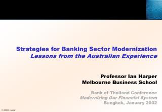 Strategies for Banking Sector Modernization Lessons from the Australian Experience