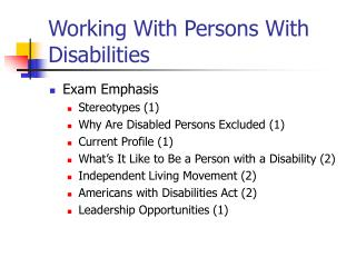 Working With Persons With Disabilities