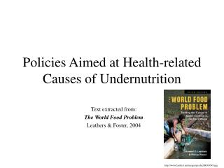Policies Aimed at Health-related Causes of Undernutrition