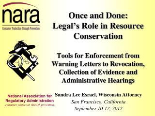 Sandra Lee Esrael, Wisconsin Attorney San Francisco, California  September 10-12, 2012