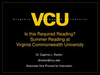 Is this Required Reading? Summer Reading at  Virginia Commonwealth University