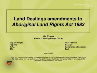 Land Dealings amendments to  Aboriginal Land Rights Act 1983