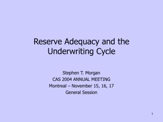 Reserve Adequacy and the Underwriting Cycle
