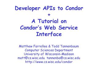 Developer APIs to Condor + A Tutorial on  Condor's Web Service Interface