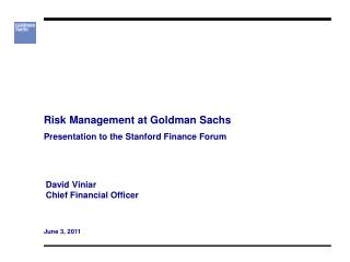 Risk Management at Goldman Sachs