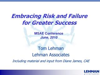 Embracing Risk and Failure  for Greater Success