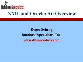 XML and Oracle: An Overview