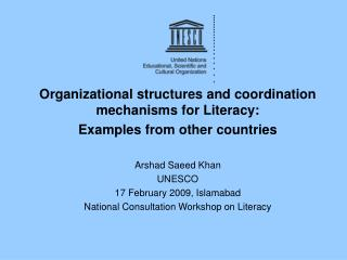 Organizational structures and coordination mechanisms for Literacy:  Examples from other countries