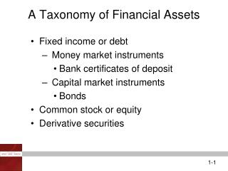 A Taxonomy of Financial Assets