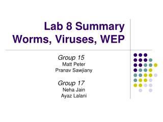 Lab 8 Summary Worms, Viruses, WEP