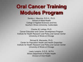 Oral Cancer Training Modules Program